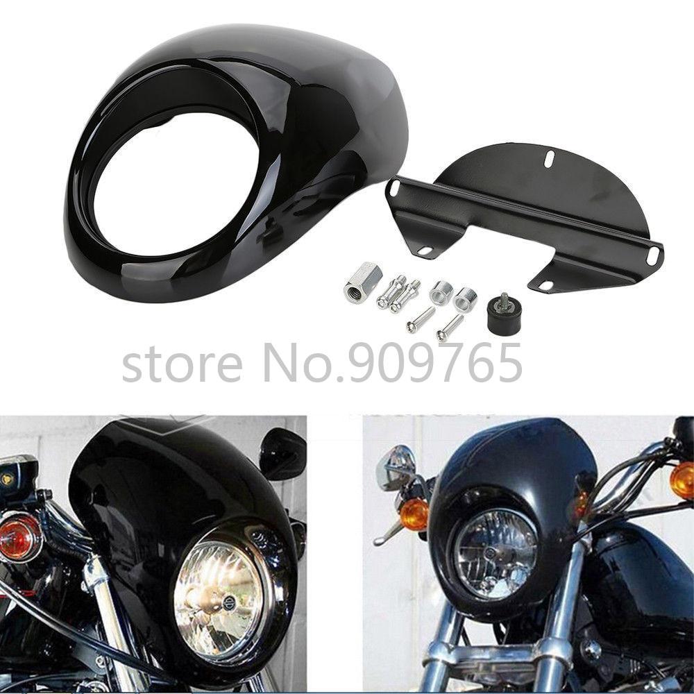 Soporte de horquilla frontal de carenado de faro negro para Harley Sportster 1000 1100 1200 883 Dyna FX/XL Glide