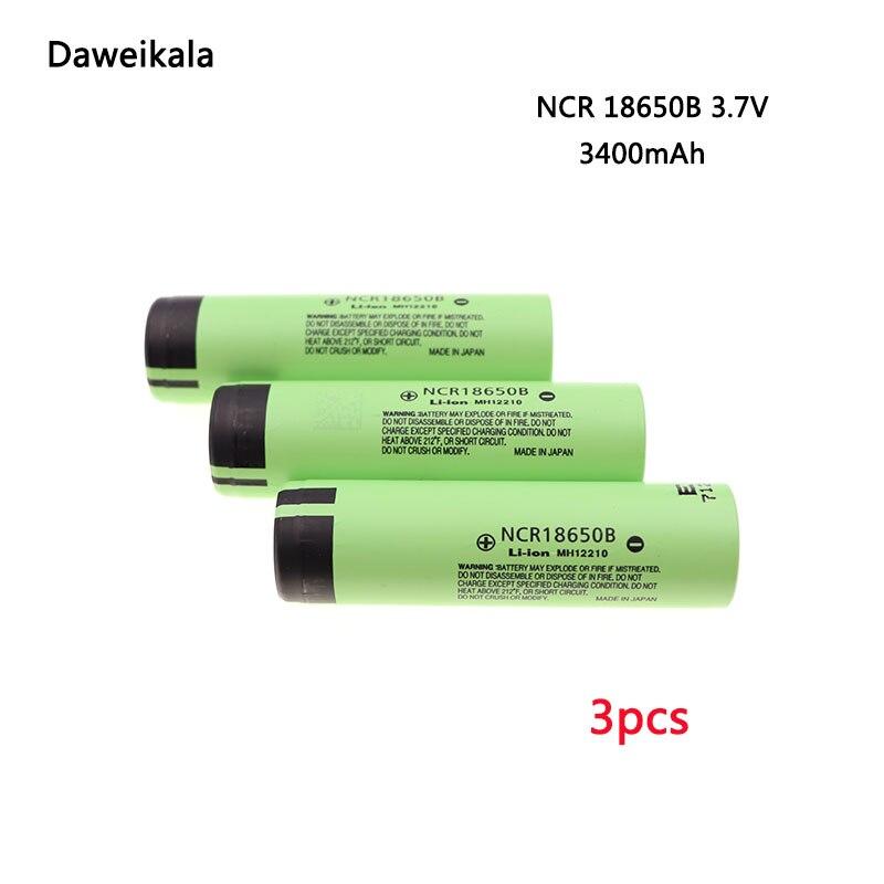 3pcs/lot Original Japan imports 18650 battery NCR18650B 3.7V 3400mAh battery Rechargeable Li-ion 3.7v battery+Free shipping