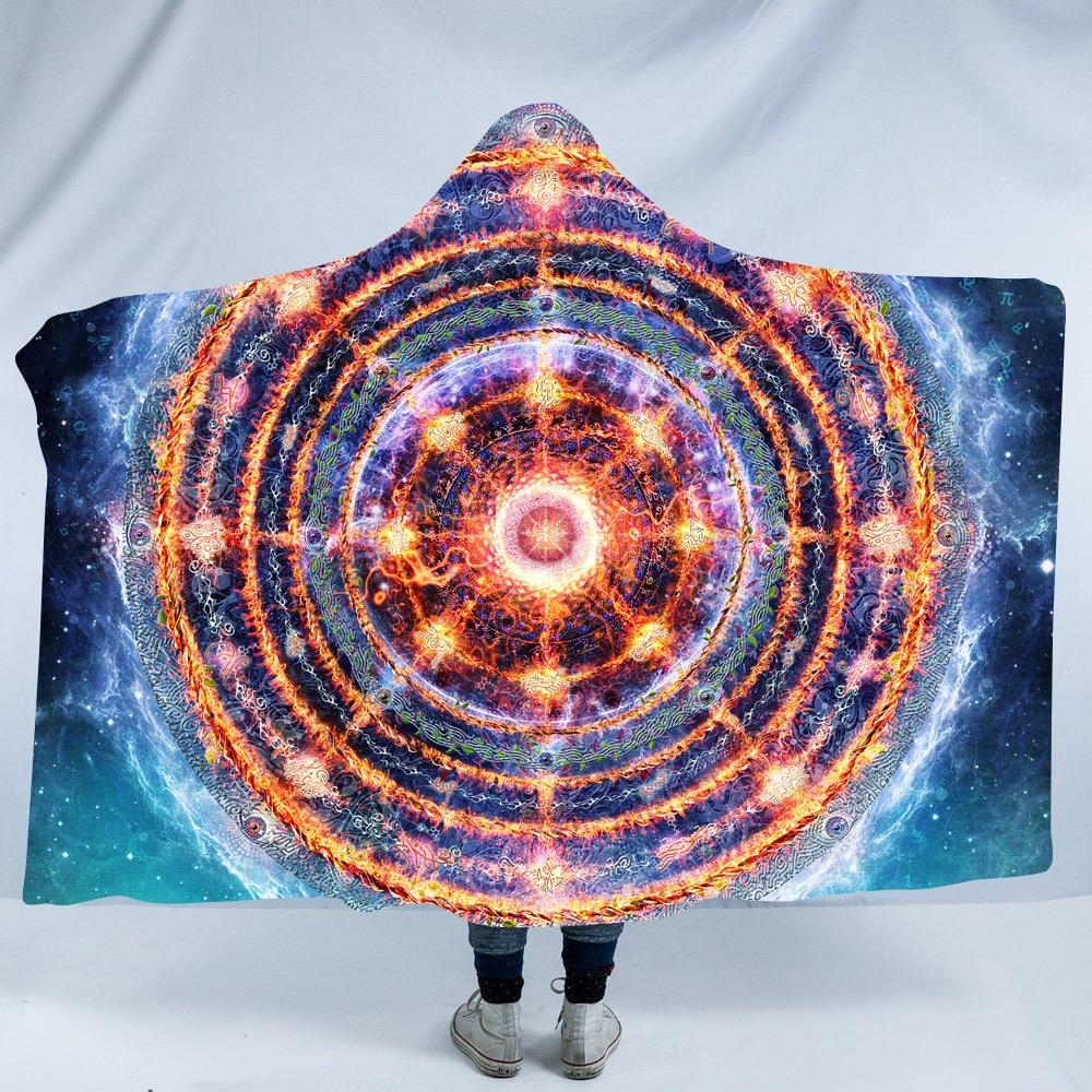 Cósmica Nirvana por Brizbazaar con capucha manta Buda Bodhisattva universo Sherpa cobija vestible planeta Ganesha lanza 150x200cm