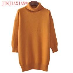 Jinjiaxian cashmere misturado de malha longa camisola feminina topos outono inverno feminino pulôver gola alta manga completa sólido color2018