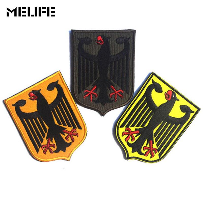 Accesorios de caza parches con símbolo escudo alemán águila insignia bordada orgullo ejército táctico EEUU moral parche de mochila ropa