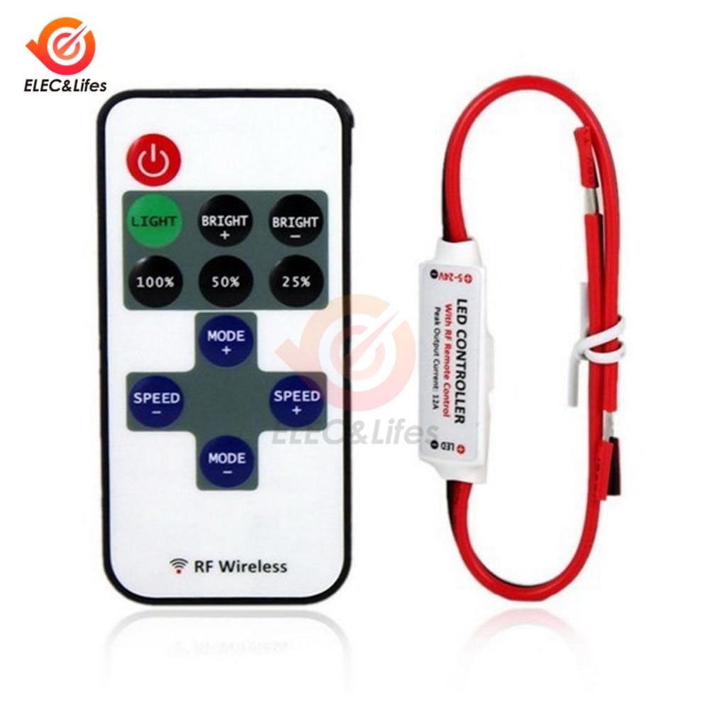 12V mini RF Wireless Single Color Led Strip Dimmer DC 5-24V 10Keys Remote Controller For SMD 5050 2835 3014 5630 LED Strip Light