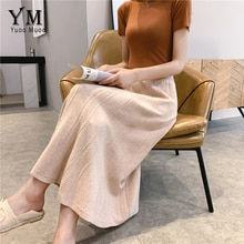 YuooMuoo 2019 Autumn Winter Women Warm Knit Korean Skirts Fashion Lady High Waist Skirt Girls Swing Autumn Elegant Skirt Saias