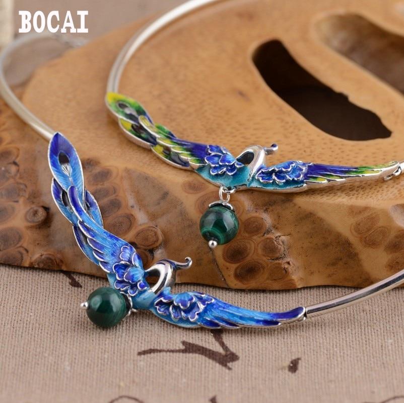 S925 pure silver burning blue style female models phoenix wear peony malachite set chain handmade new woman necklace