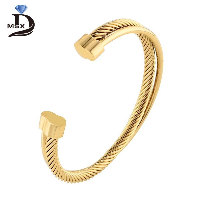 Brazalete de Color oro rosa para mujer, pulsera de alambre de acero inoxidable para hombre, Simple moderno europeo, regalo de joyería para mujer