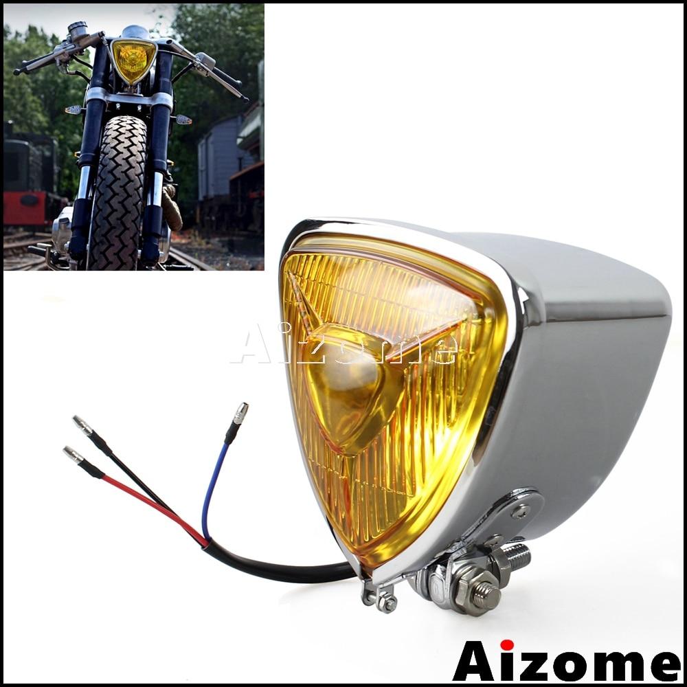 Motorcycles Triangle H4 Headlight For Harley Custom Cafe Racer Vintage Headlight 55/60W Chopper Bobber Cruiser  Head Lamp