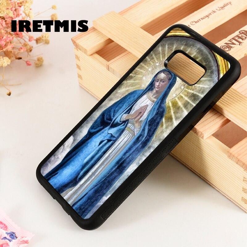 Iretmis S3 S4 S5 Silicone case capa do telefone para Samsung S6 S7 S8 S9 borda mais Nota 3 4 5 8 9 virgem Maria Maria Cristã Católica