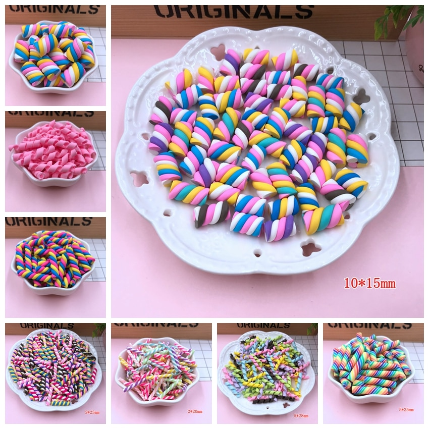 Venta caliente lindo Kawaii Marshmallow, caramelo de remolino de arcilla para la fabricación de la artesanía, teléfono Deco, Scrapbooking, DIY
