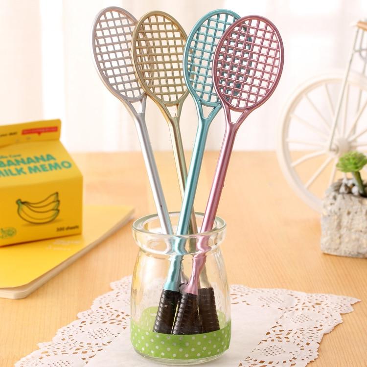 4 unidades/pacote criativo raquetes de badminton estilo gel canetas bonito material de escritório