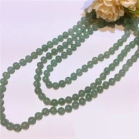 wholesales knotted rope hot 120cm length 8mmlight to darkgreen real aventurine stone long necktie necklace triple twisted