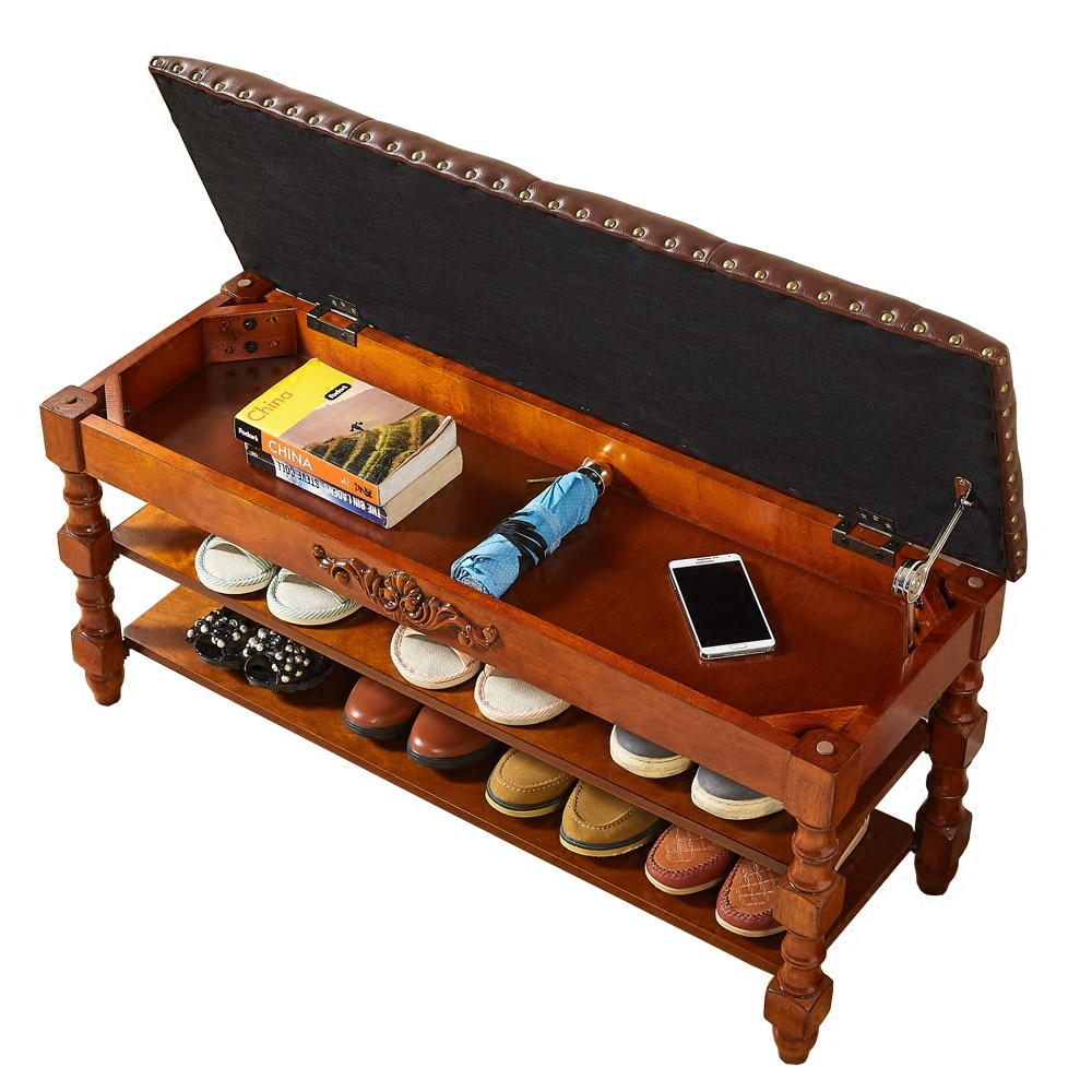 Door Change Shoes Bench Solid Wood Carved Shoes Rack Bench Multifunctional Sofa Storage Stool недорого