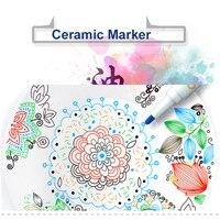 Simbalion Ceramic Marker Set Glass Wood Ceramic Paint Markers Felt Tip 1.0mm Metallic Pen Arts and Crafts Supplies 8 Colors/Box