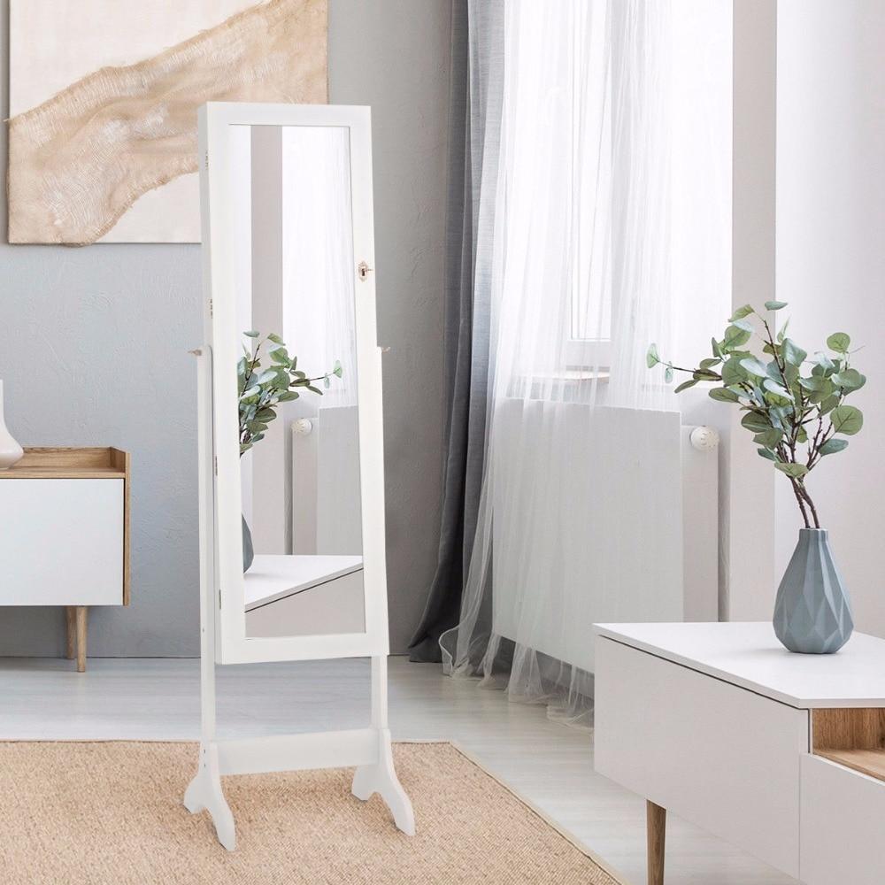 sobuy fsr30 w storage bench 3 drawers Giantex Lockable Mirrored Jewelry Cabinet Armoire Storage Organizer Box w/ Drawers White Home Furniture HW58853WH