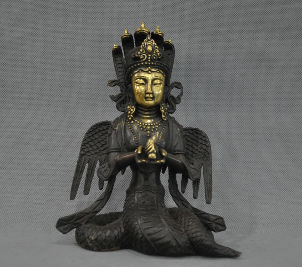 "10 ""Китай Тибет Нагарджуна Кван-инь Будда Дракон Тела Бронзовая Статуя"