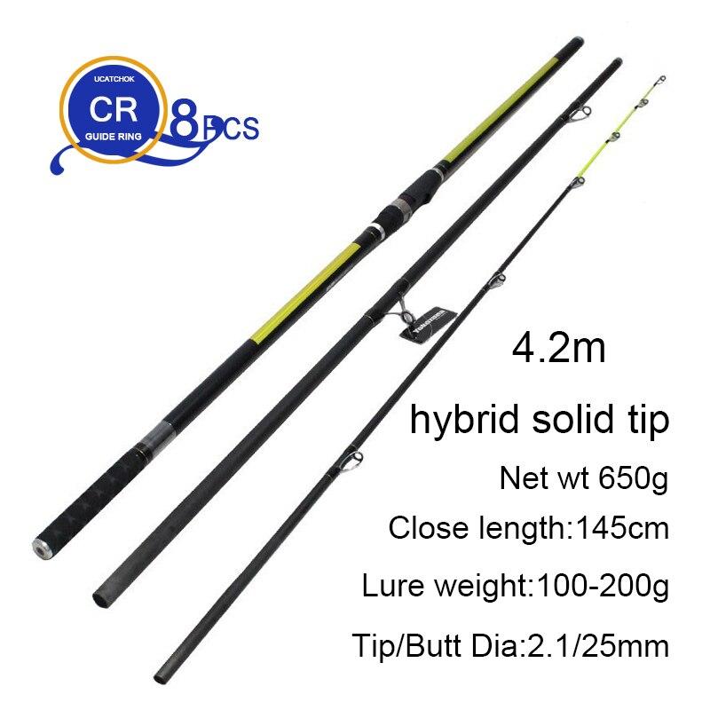 wholesale 2pcs/pack 4.2M 3 Insert sections Pure Carbon Fiber Beach Long Casting Far Shot Distance Throwing Surf Carp Rod enlarge