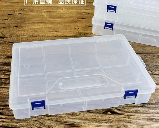 صندوق تخزين بلاستيك شفاف سميك 30 × 20 × 6 سنتيمتر ، 10 صناديق فارغة ، ملحقات الأدوات ، DIY ، 3 قطعة