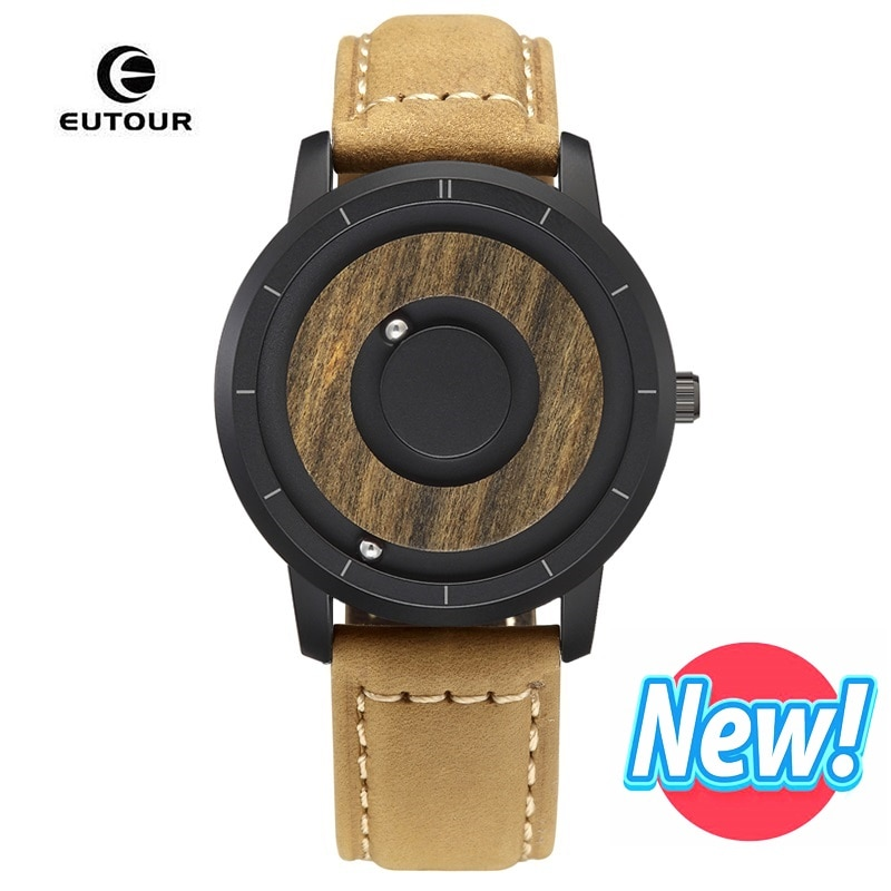 EUTOUR Top Brand Luxury Magnetic Ball Watch Men Leather Military Strap Mens WristWatch Waterproof Quartz Watch erkek kol saati