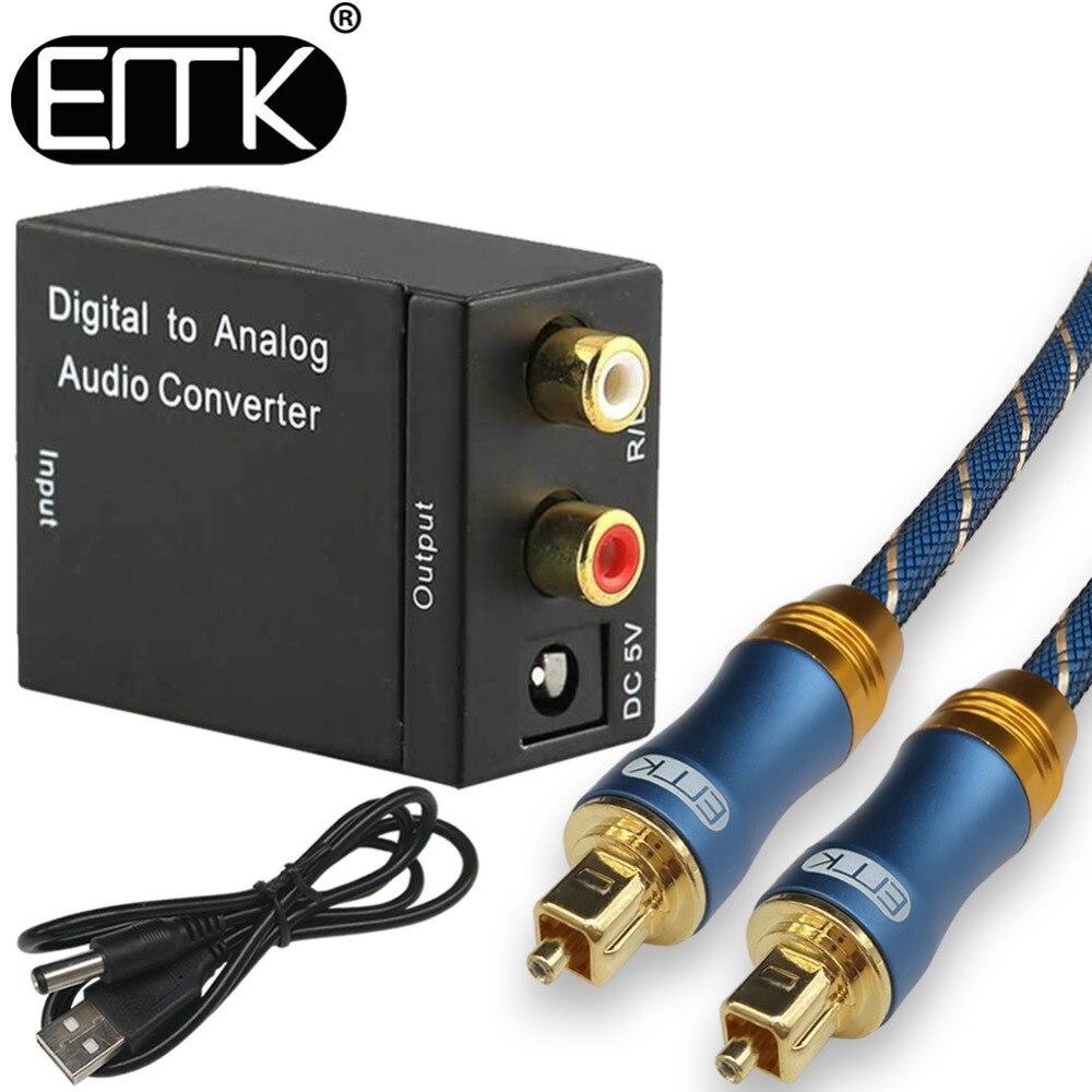 Emk digital ao conversor de áudio analógico de fibra óptica toslink coaxial ao conversor de tv de áudio analógico adaptador para dvd