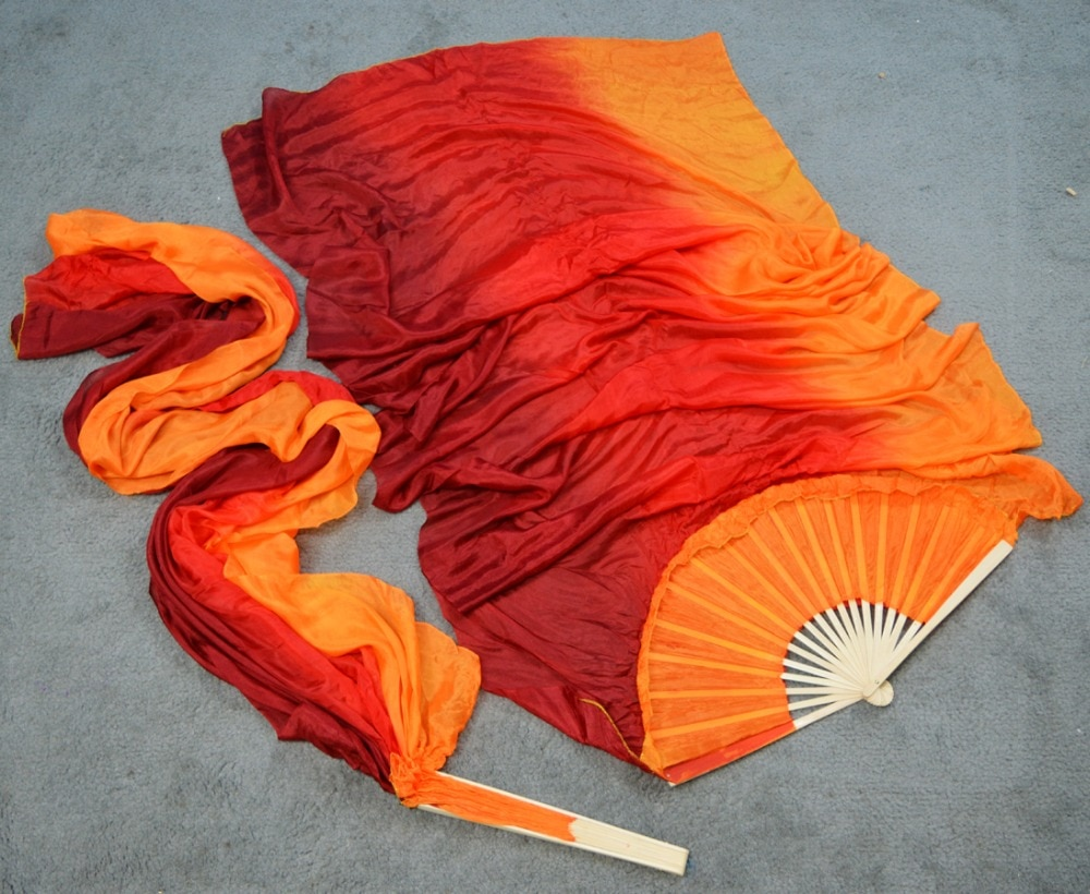 Хит продаж, ручная работа, Женская качественная шелковая вуаль для танца живота, 100% натуральный шелк, 1 пара, бордовая + красная + Оранжевая