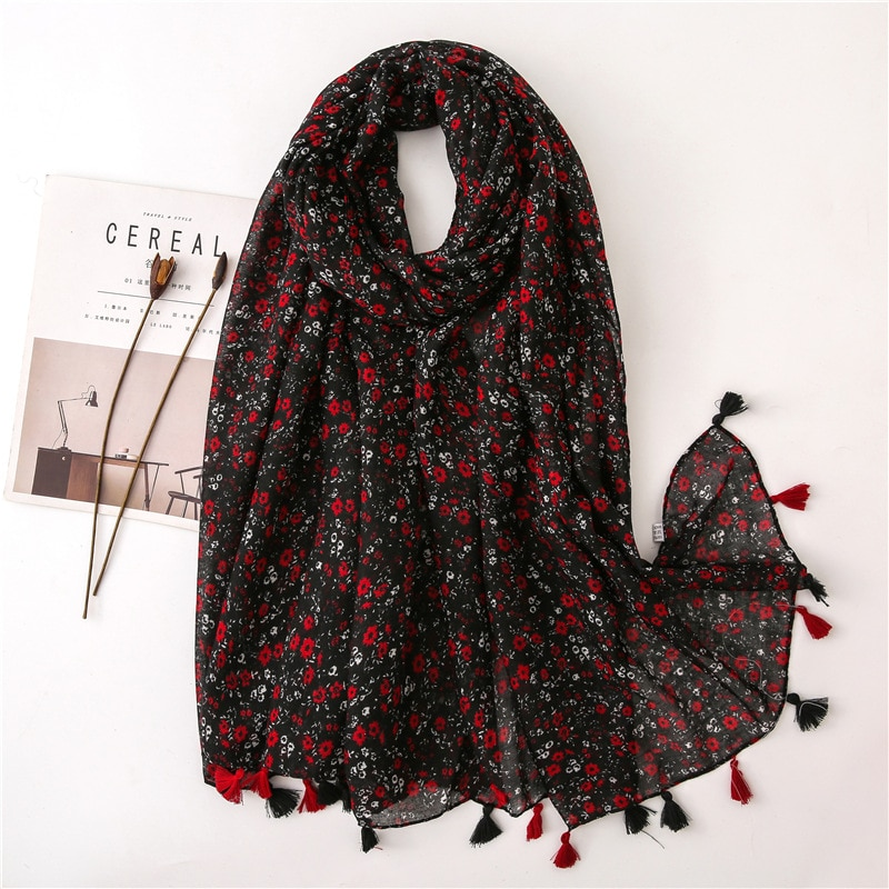 2020 Women Fashion Small Polka Floral Tassel Viscose Shawl Scarf Print Voile Wrap Headband Bufandas Muslim Hijab Sjaal 180*90Cm