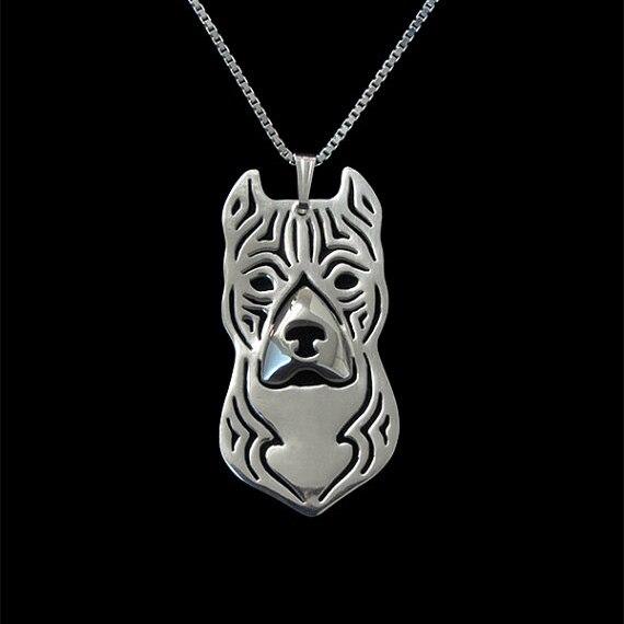 Американский стаффордширский терьер (Amstaff) ожерелье ювелирных изделий-тарелка золото и серебро собака кулон