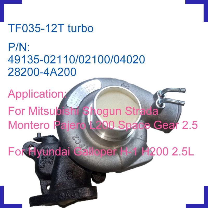 Motor cargador turbo turbocharger kit 49135-02110, 49135-02100 para Mitsubishi Shogun Strada Monerto Pajero L200 espacio de 2.5L