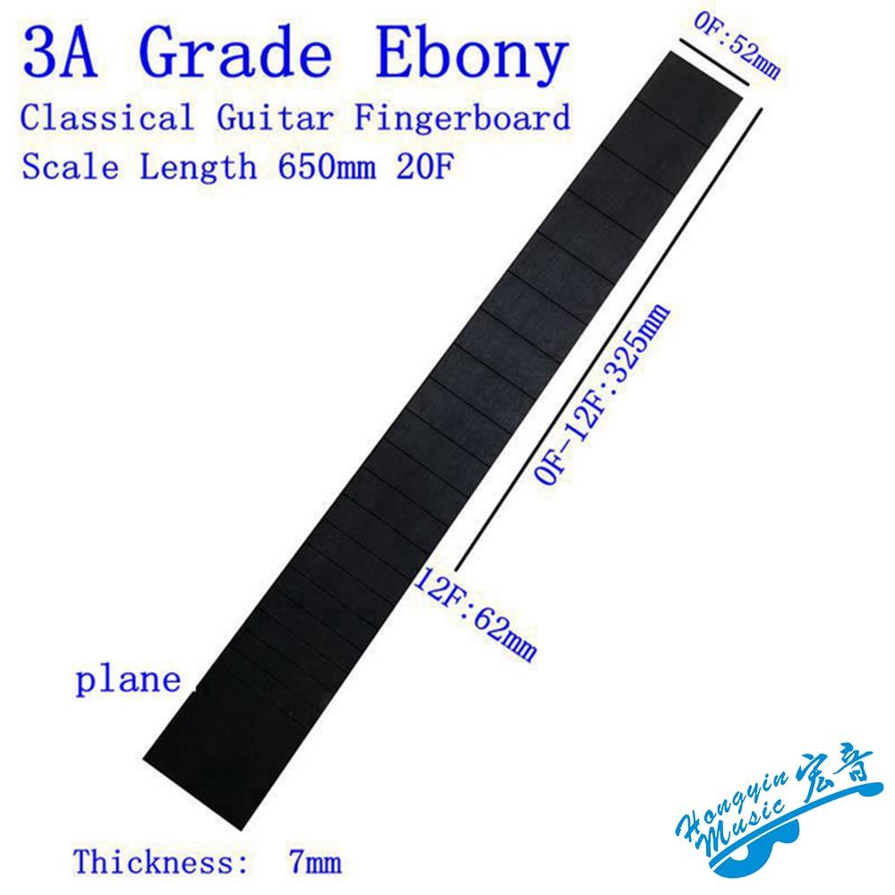 3A todo madera de ébano negro diapasón para guitarra clásica 20 trastes estándar de 650mm cuerda longitud Semi-acabado material del diapasón