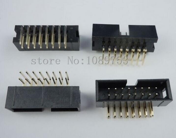Connecteur de tête de boîte IDC   100 pièces 16 broches 2x8 prise mâle à Angle droit 2.54mm