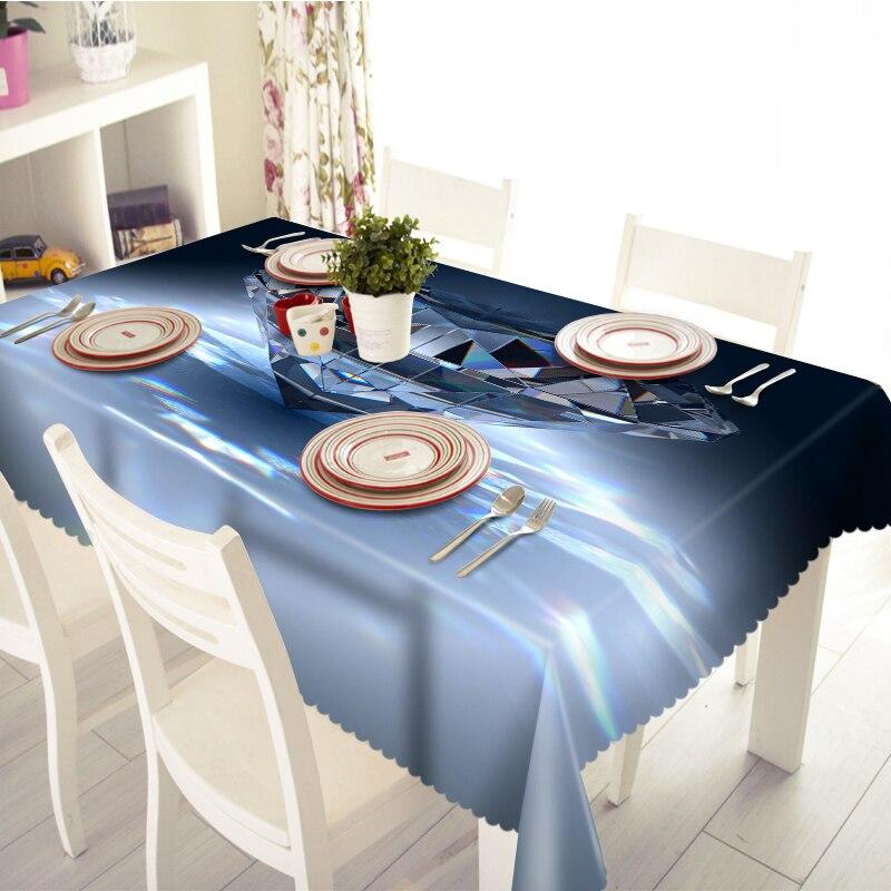 Mantel 3D hermoso patrón de diamante lona acolchada Rectangular boda al aire libre banquete decoración mantel hogar textil