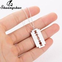 Shuangshuo-colliers et pendentifs en forme de lames de rasoir en acier inoxydable pour hommes, bijoux en acier inoxydable, ne se décolore pas