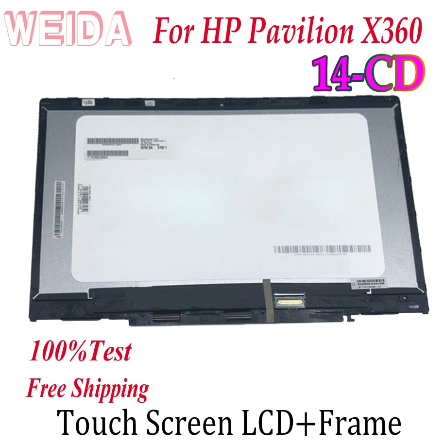 WEIDA Touch Digitizer For HP Pavilion X360 14-CD 14 CD Series Laptops Screen LCD Display Assembly Replacemnt Panel