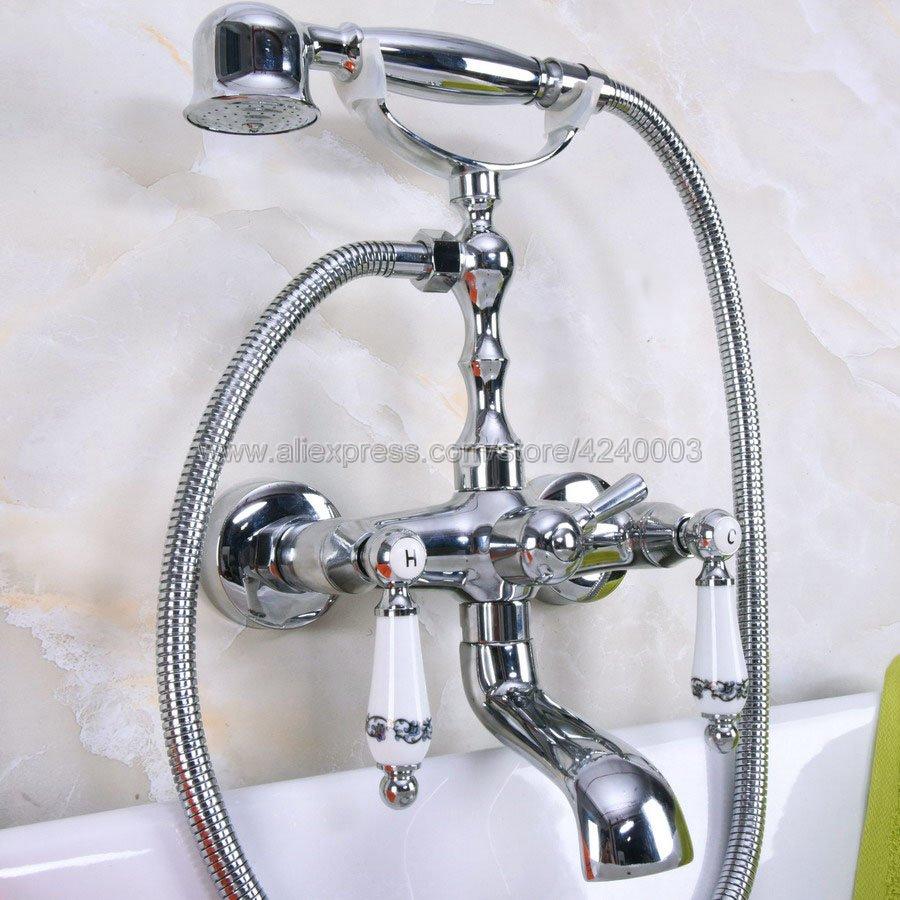 الكروم الحمام حوض صنبور الهاتف نمط الحمام حوض جدار الخيالة حوض صنبور مع handshower swive Kna205