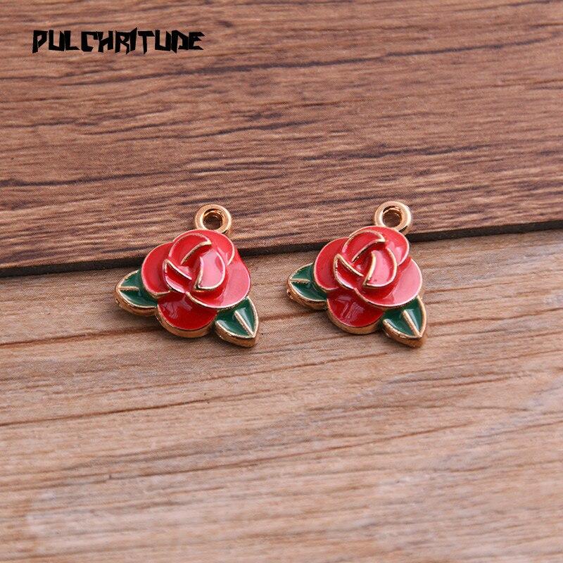 6 uds 16*17mm de aleación de Metal gota de aceite rojo rosa encantos colgante para DIY pulsera collar fabricación de joyería