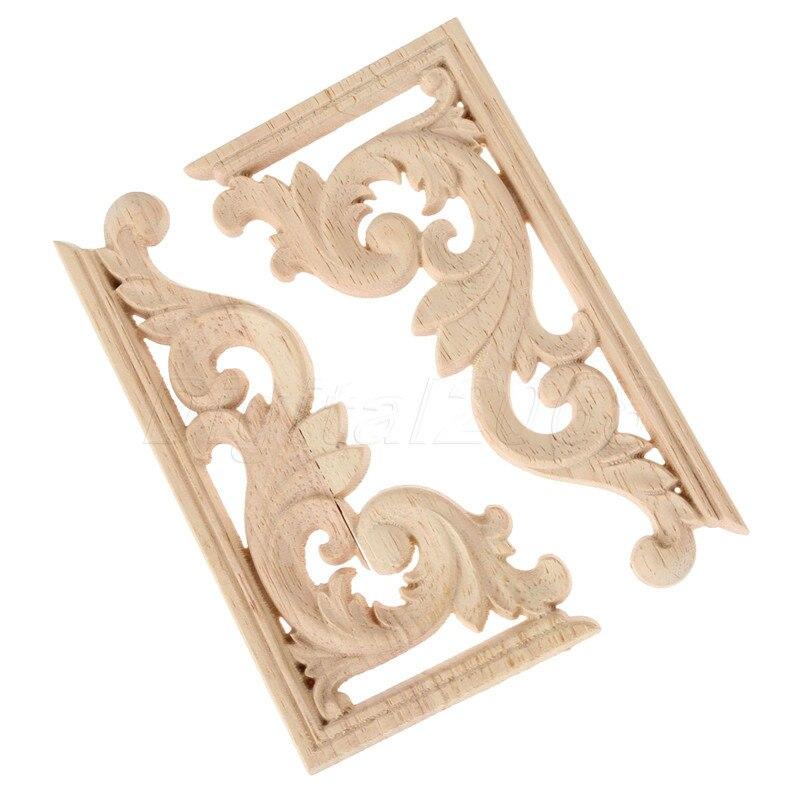 Un par de 13*7*0,8 CM Esquina de madera tallada izquierda y derecha aplique sin pintar muebles Marco de decoración calcomanía decoración de carpintero