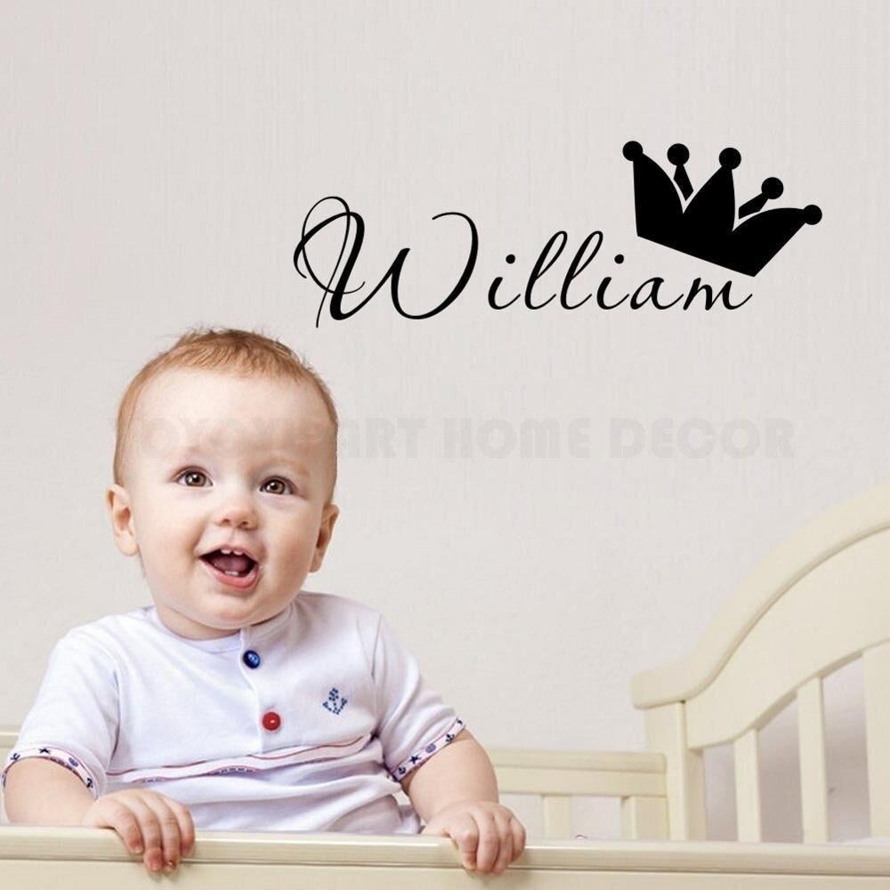 Personalizado qualquer nome príncipe adesivo de parede crianças meninos quarto do bebê arte da parede decalque removível vinil berçário quarto decoração mural ay1172
