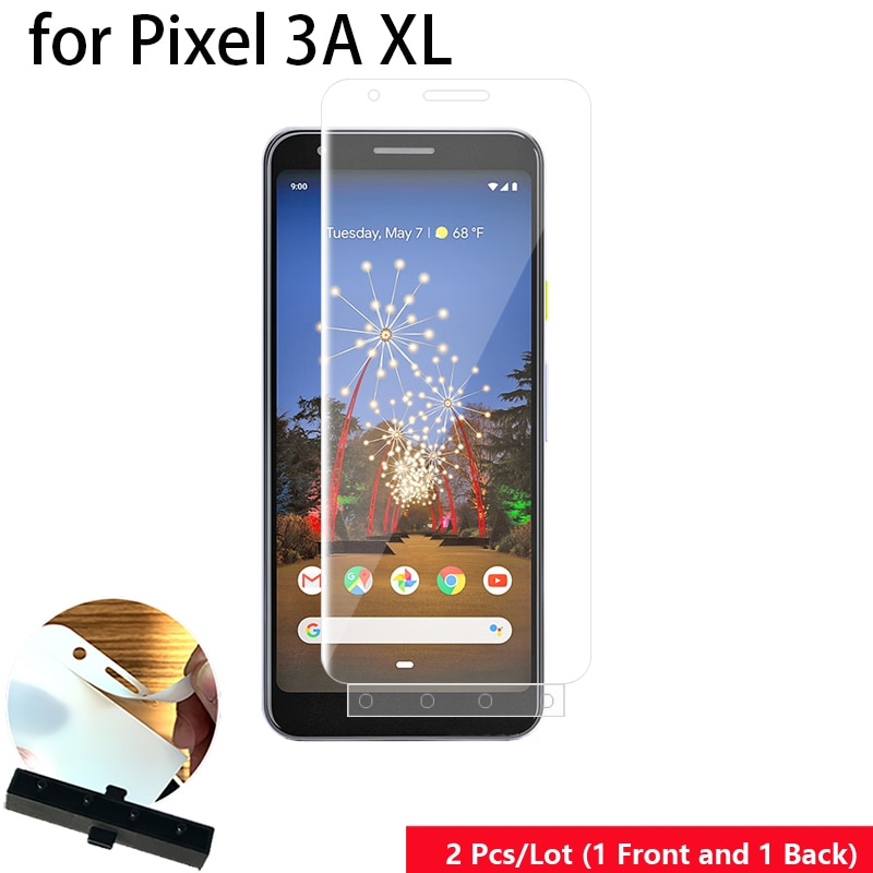 2 uds herramienta de guía inteligente frontal y trasera película suave película de hidrogel para Arreglo automático Protector de pantalla de cuerpo completo para Google Pixel 3A XL