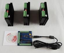 CNC mach3 usb 3 Axis Kit, 3 uds TB6600 1 Axis Driver controller + one mach3 4 Axis USB motor paso a paso CNC controlador card 100KHz