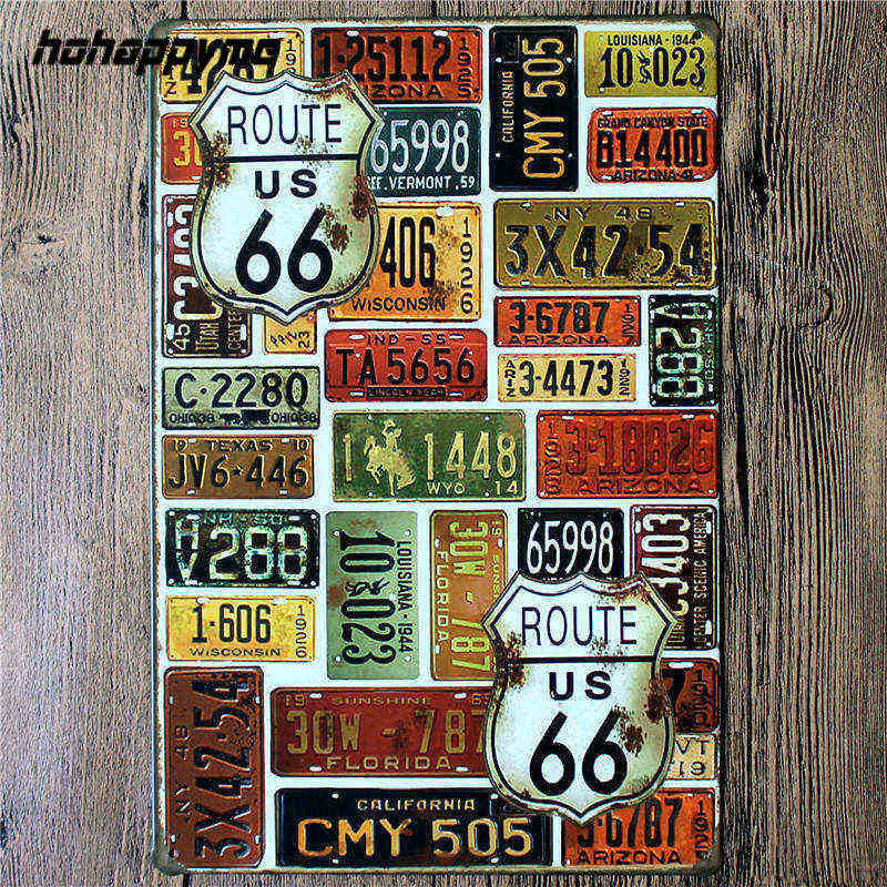 2018 nueva ruta US 66 Placa de arte de pared de Metal Vintage Pub cerveza cartel Vintage Metal signos decoración del hogar ruta 66 20*30 CM