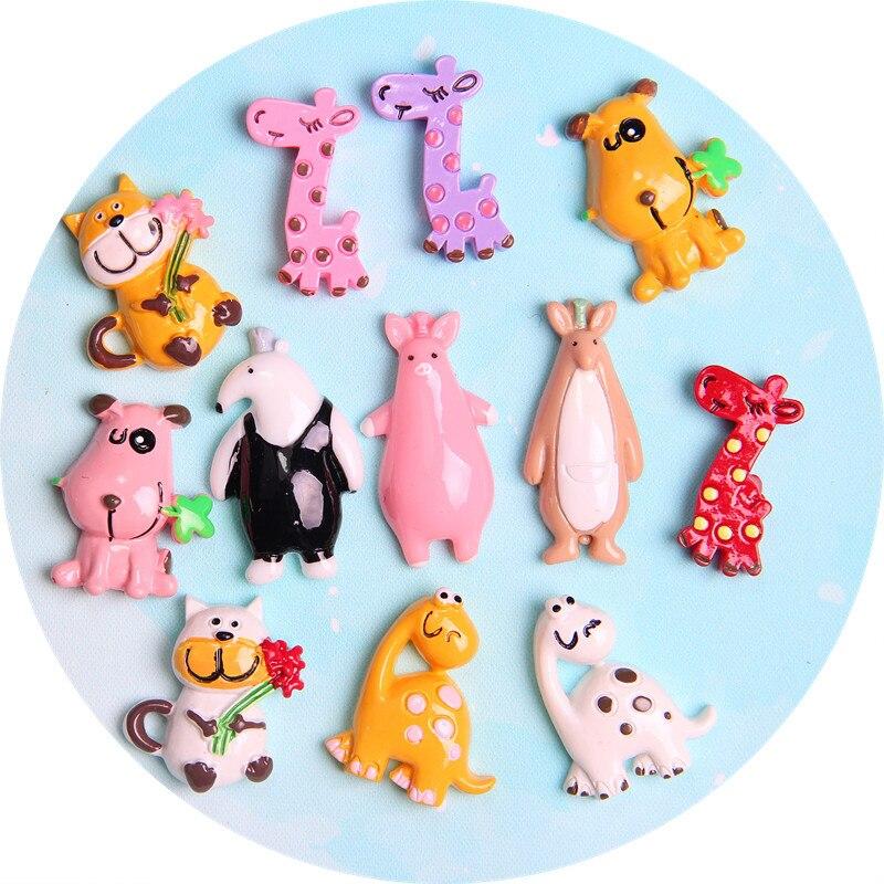 10 piezas de dibujos animados de resina plana cabujón Kawaii gato perro animales plano back cabujones niños pelo arcos Centro DIY teléfono caso decoración