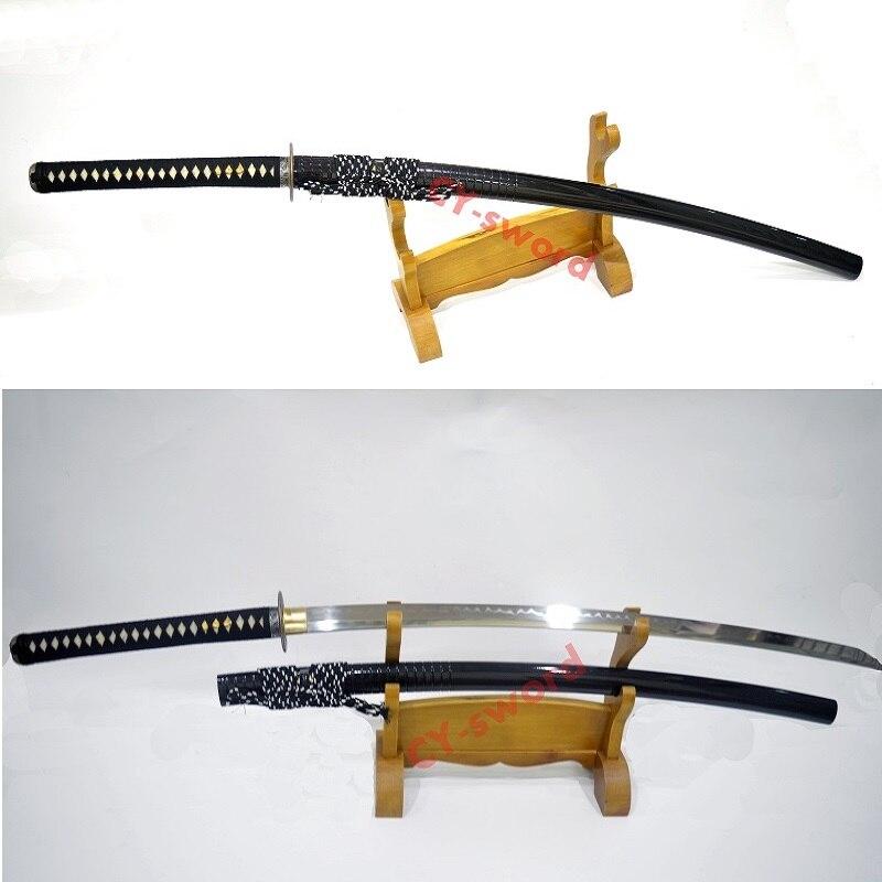"""Espada de hoja afilada de NoDachi japonesa templada de arcilla de alta calidad hecha a mano de 51,2 """", cuchilla de katana"""