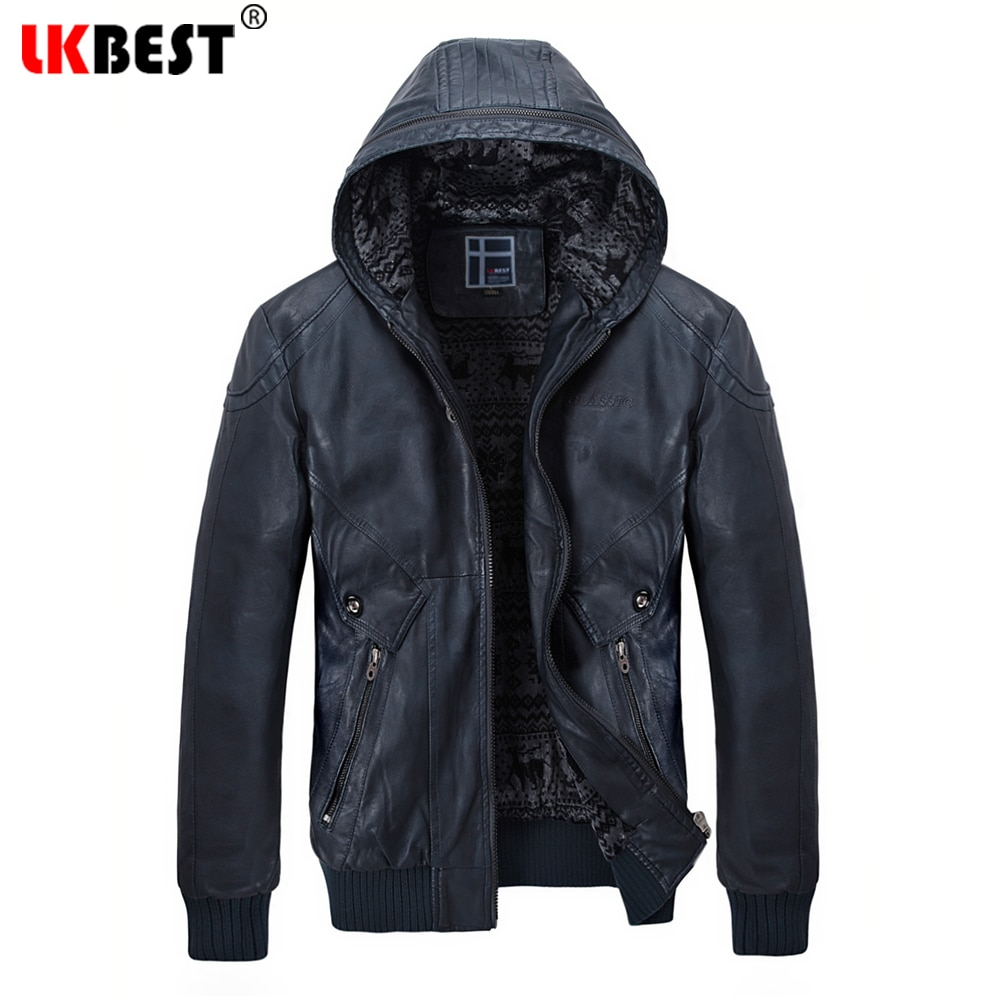 LKBEST Mens Leather Jackets Winter Warm Coats Plus Thick Outerwear Biker Motorcycle Male Classic Hooded Faux Jacket Windproof