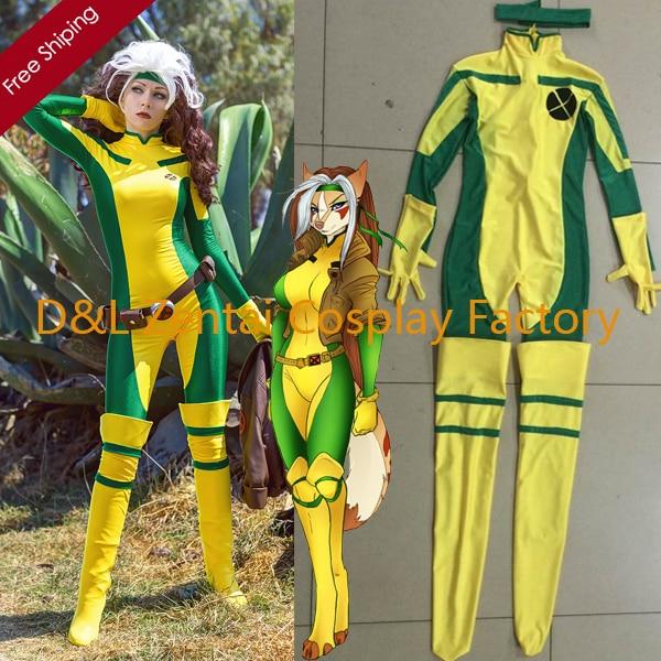 2016 Halloween Costume, X-Men Rogue Costume, Yellow And Green Lycra Spandex Catsuit Superhero Cosplay Costume For Women RG102
