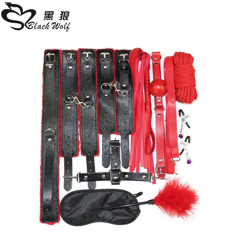 10PCS/Set New Leather bdsm bondage Set Restraints Adult Games Sex Toys for Couples Woman Slave Game SM Sexy Erotic Toys Handcuff