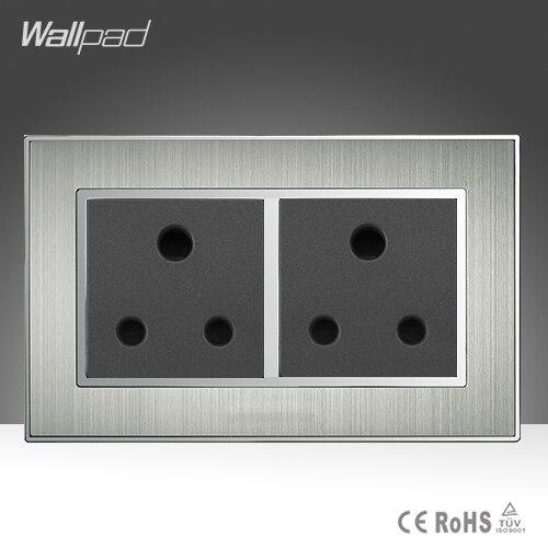 CE BS aprobado Wallpad Acero inoxidable AC 110-250V 146 estándar doble pared 15A Reino Unido Soutch África enchufe al por mayor precio