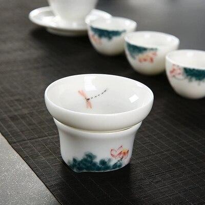 مصافي شاي مصنوعة يدويًا بجودة عالية من السيراميك مصفاة شاي بهار مستلزمات حفلات شاي أدوات صغيرة منزلية صينية للكونغ فو