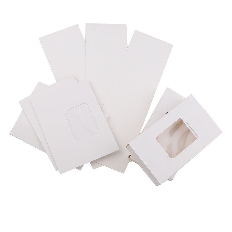 20 unidades 7,5x13x2,7 cm papel blanco rectangular caja con ventana de PVC para regalo DIY embalaje/vidrio protector piedras de fantasía de cristal