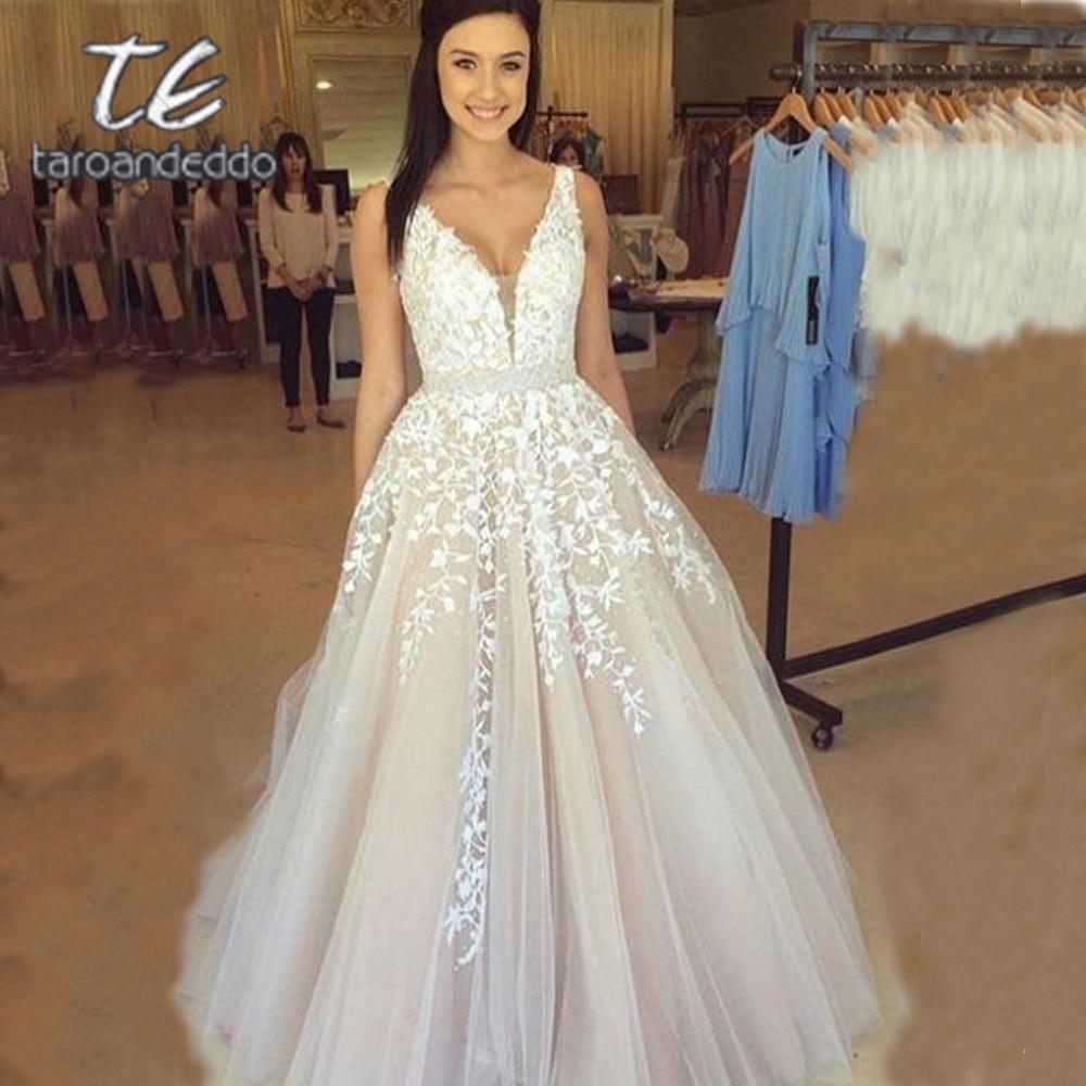 V Neck Wedding Dresses 2020 Light Champagne Floor Length Applique Open Back A Line Backless Bridal G