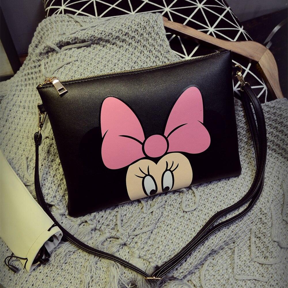 Bolso para pañales de Mickey de Disney, bolsa de hombro, bolsa mensajero de dibujos animados de Minnie, bolso de moda para mujer para viajes al aire libre, bolso de punto