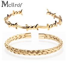 Men Bracelet/stainless Steel/cuff/bracelets Bangles Gold Color Titanium Open Knot Bracelet for Men Women Fashion Jewelry Gifts
