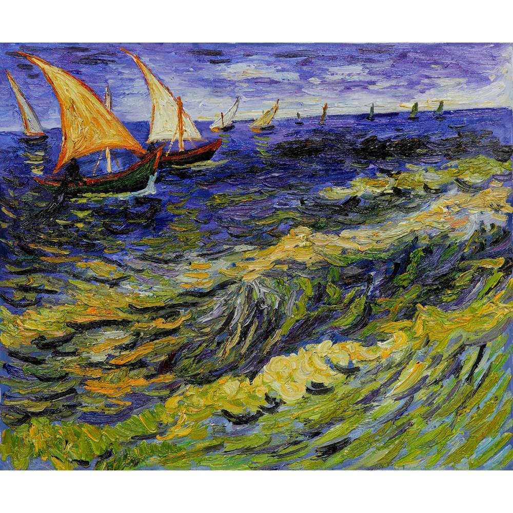 Pinturas de Vicent Van Gogh sobre lienzo paisaje marino en Saintes Maries de la Mer pintado a mano pared arte decoración alta calidad